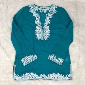Michael Kors Turquoise/White Lightweight Tunic